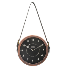 Strap Alloy Wall Clock - @home By Nilkamal, Black & Rose