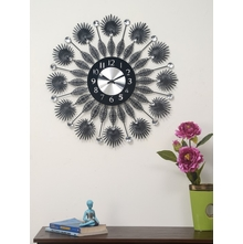 Palm Wall Clock - @home By Nilkamal, Black