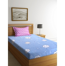 Smile Cloud 150 cm x 225 cm Single Bedsheet, Blue
