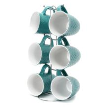 Elite Stone Coffee Mug Set of 6 with Stand - @home by Nilkamal, Sea Green
