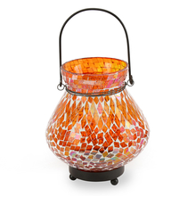 Mosaic Matki Hanging Lantern - @home by Nilkamal, Orange