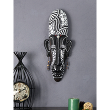 African Mask Wall Hanging, White