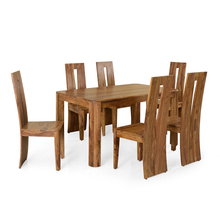 Granada 6 Seater Dining Set - @home by Nilkamal, Natural Walnut