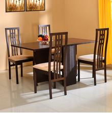 Gypsy 4 Seater Dining Set - @home by Nilkamal, Dark Walnut