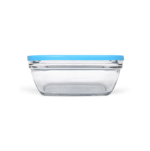 Duralex Square Glass 200 ml Bowl with Blue Lid, Clear