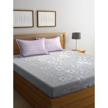 Floral 250 cm x 274 cm Double Bedsheet, Grey