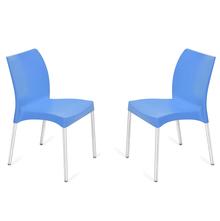 Nilkamal Novella 07 without Arm & Cushion Chair Set of 2, Blue