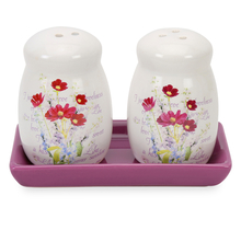 Ceramic Salt & Pepper Container with Tray - @home by Nilkamal, Purple