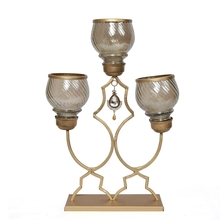 Motif 30 cm x 10 cm x 39 cm Candle Stand - @home by Nilkamal, Gold