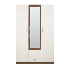 Leon 3 Door High Gloss Wardrobe with Mirror, White