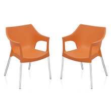 Nilkamal Novella 10 with Arm & without Cushion Chair Set of 2, Orange