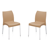 Nilkamal Novella 07 without Arm & Cushion Chair Set of 2, Biscuit
