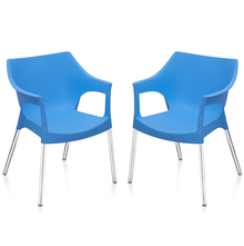 Nilkamal Novella 10 with Arm & without Cushion Chair Set of 2, Blue