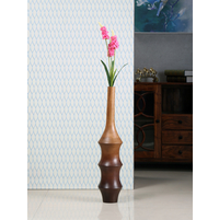 Ripple Wooden Tall Vase, Brown