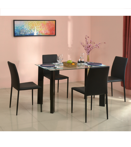 Janet 4 Seater Dining Kit With Top Glass, Clear