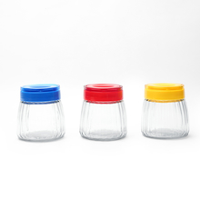 400 ml Glass Jar with Plastic Handle Set of 3 - @home by Nilkamal, Multicolor