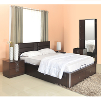 Triumph King Size Bedroom Set - @home by Nilkamal,  dark walnut