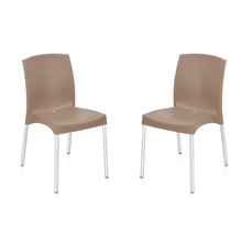 Nilkamal Novella 17 Stainless Steel Chair - Set of 2, Light Brown
