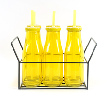 Bottle with Metal Lid/ Stand & Straw Set of 6 - @home by Nilkamal, Yellow
