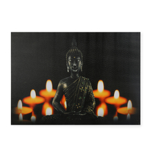 Buddha Prayers LED Canvas Painting - @home by Nilkamal, Yellow