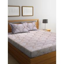 Damask Seamless 250 cm x 274 cm Double Bedsheet, Beige