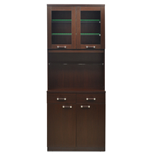Derval Crockery Cabinet With Glass Shelf - @home by Nilkamal, Dark Walnut