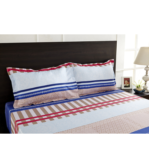 Arcade Stripe Double Bed Sheet - @home By Nilkamal, Blue