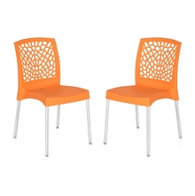 Nilkamal Novella 19 Stainless Steel Chair - Set of 2, Orange