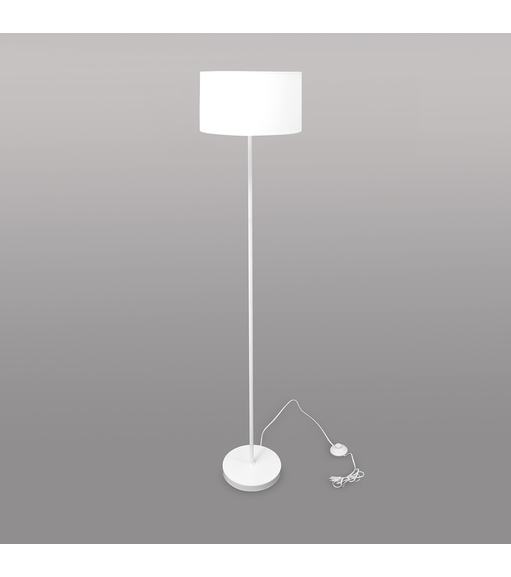 Floor Lamp with Drum shaped Shade - @home by Nilkamal, White