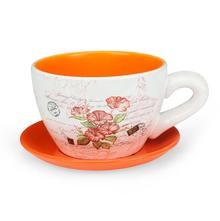 Garden Mini Cup & Saucer Planter - @home by Nilkamal, Orange