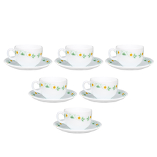 Laopala Amber Willow 160 ml Cup & Saucer Set of 6, Multicolor