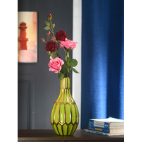 Long Neck Hex 15 cm x 15 cm x 30 cm Vase - @home By Nilkamal, Green & Bronze