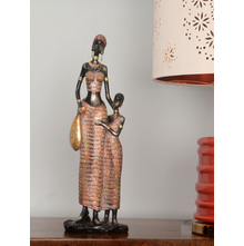 African Lady & Kid 14X10X41CM Showpiece, Red