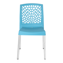 Nilkamal Novella 19 Stainless Steel Chair, Celeste Blue