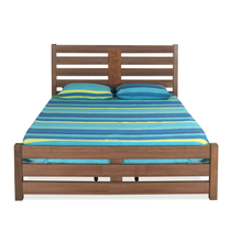 Nation Queen Bed without Storage - @home by Nilkamal, Walnut