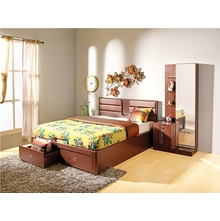 Triumph Liftable Queen Bed - @home Nilkamal,  dark walnut