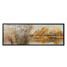 Wild Autumn Picture Painting 50 x 150 - @home By Nilkamal, Blue & Peach