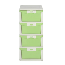 Nilkamal Chester Storage 4 Drawer Series - 24, Cream & Pastel Green