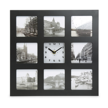 Table Clock with Photos - @home by Nilkamal, Black
