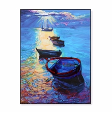 Boat Near Shore 3D 45 cm x 60 cm Painting - @home by Nilkamal, Sea Green