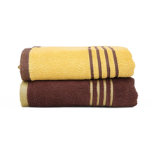 70 cm x 130 cm Bath Towel Set of 2 - @home by Nilkamal, Yellow & Brown