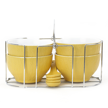 Stone Soup Bowls Set of 4 with Stand & Spoon - @home by Nilkamal, Yellow