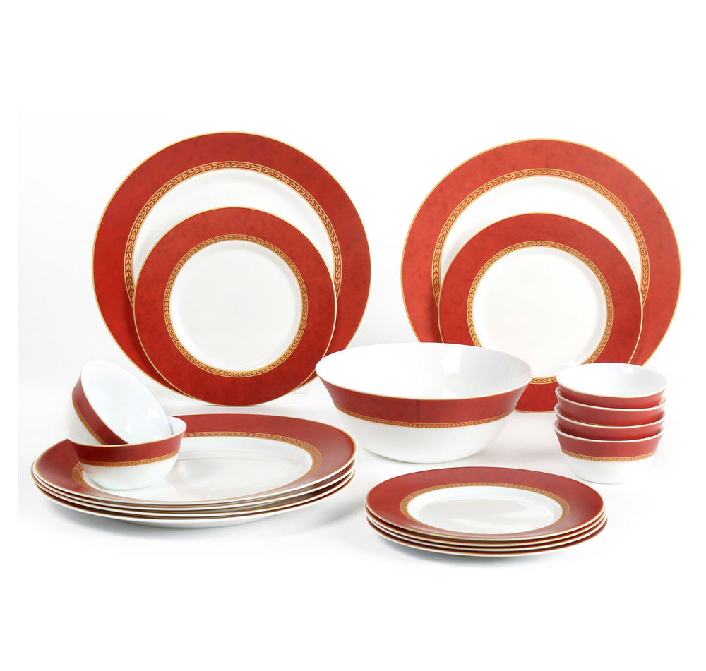 Laopala Sovrana Ameerah 19 Pieces Dinner Set, Red