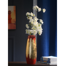 Bold 12 cm x 12 cm x 32 cm Vase - @home By Nilkamal, Red & Gold