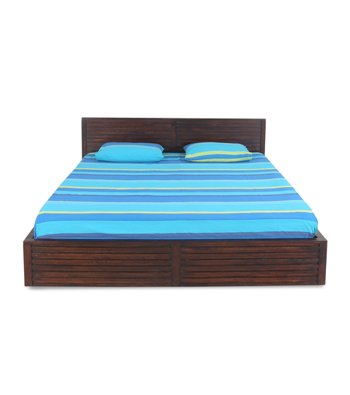 Rigato King Bed without Storage - @home by Nilkamal, Walnut