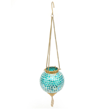 Mosaic Hanging Votive Pendant - @home by Nilkamal, Sea Green