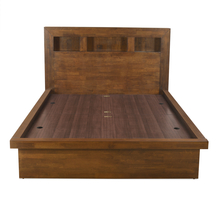 Lincoln Queen Bed With Box Storage, Walnut