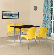 Napoli 4 Seater Dining Set - @home by Nilkamal, Yellow