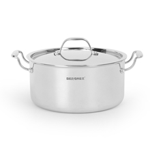 Bergner Triply Cook n Serve 24 cm Pot with Lid, Silver
