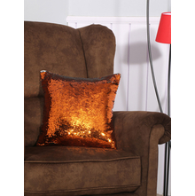 Sequins 40X40CM Cushion Cover, Orange & Silver